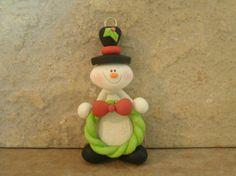 Snowman and wreath
