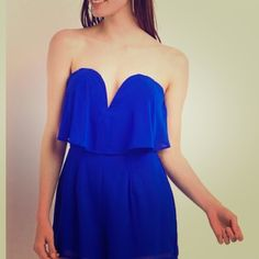 Cobalt Blue Party Dress Has push up padding, no need for a bra! Worn once. Charlotte Russe Dresses Strapless