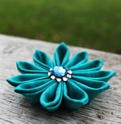 Turquoise Tsumami Kanzashi Fabric Flower by StellaArborBoutique, $9.00