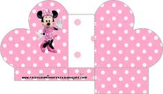 Minnie First Year Party with Polka Dots: Free Printable Boxes. Minnie Mouse 1st Birthday, Baby First Birthday, Mickey Minnie Mouse, First Birthday Parties, Printable Box, Free Printables, Imagenes Betty Boop, Minnie Mouse Cupcake Toppers, Polka Dot Party