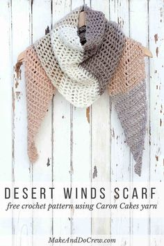 Toss on this modern crochet triangle scarf to head out to the desert, the mountains...or just the grocery store. Use a variegated yarn to take all the stress out of changing colors!