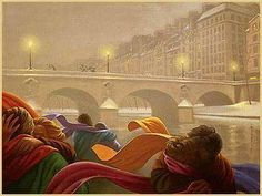 Love on a snowy evening. Art by Claude Théberge.