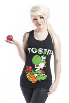 """Débardeur long """"Yoshi Apple"""" signé Nintendo avec dos nageur.  Le top """"Yoshi…"""