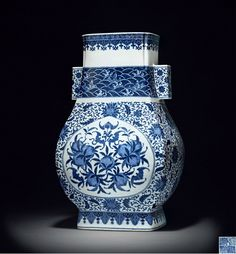 A blue and white vase with lotus scrolls and auspicious designs, Qianlong six-character mark and period (1736-1795)