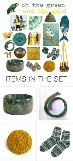 """""""oh the green and the gold"""" by belinda-evans ❤ liked on Polyvore featuring art"""