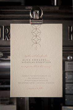 Clementine letterpress invitation - design by Andrea Snaza