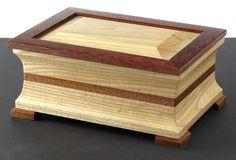 Ash, bloodwood, and mahogany lidded keepsake box