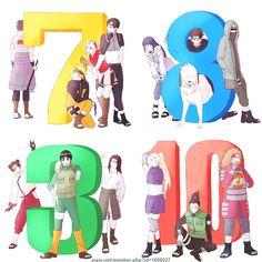 Team 7 - Uchiha Sasuke, Uzumaki Naruto, Haruno Sakura and Sai. Team 8 - Hyūga Hinata, Inuzuka Kiba (Akamaru) and Aburame Shino. Team - Tenten, Rock Lee and Hyūga Neji. Team 10 - Yamanaka Ino, Nara Shikamaru and Akimichi Chōji