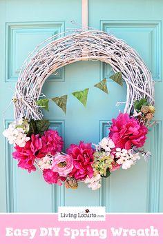 Easy DIY Spring Wreath Craft Tutorial for your Easter or Spring decor. Wreath Crafts, Diy Wreath, Grapevine Wreath, Clothespin Crafts, Wreath Ideas, Do It Yourself Wedding, Do It Yourself Home, Spring Home Decor, Spring Crafts