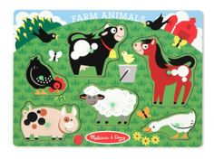 Melissa & Doug Farm Animals Peg Puzzle by Melissa & Doug. $8.55. From the Manufacturer                Explore the farm and meet the animals who live there with this easy-grasp peg puzzle. Wooden board is decorated with a charming farmyard scene and the pictures under the puzzle pieces make it simple and fun to place the six animals in the field. Your child will want to do this puzzle again and again.                                    Product Description         ...