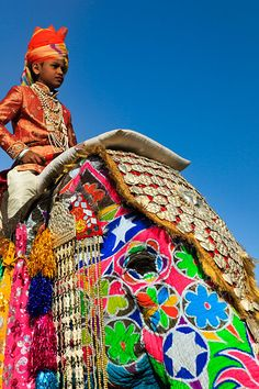 Man in traditional dress riding elaborately decorated elephant with colourful paint, jewels and velvets, during the annual Elephant Festival, held every March in the Pink City of Jaipur.