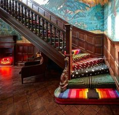 Funky way to carpet your stairs by using offcuts                                                                                                                                                                                 More