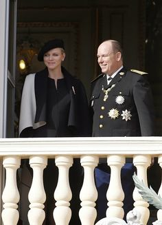 Princess Charlene of Monaco and Prince Albert II of Monaco appear on the balcony of the Monaco Palace during celebrations marking Monaco's National Day in Monaco on 19.11.2014.