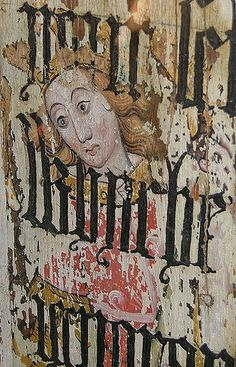 Detail of the panels of the former rood screen at Binham Priory, Norfolk. Hand Painted Wallpaper, Painted Walls, Seven Sacraments, Medieval Paintings, White Crosses, Medieval Art, St Michael, Christian Art, 15th Century