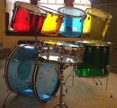 Early 70s Ludwig Vistalite jellybean quadra plus drum kit