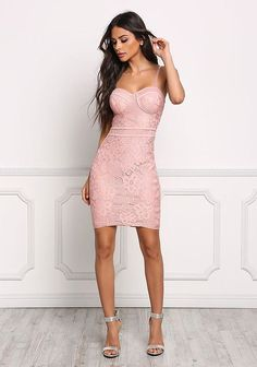 Mauve Bustier Floral Lace Bodycon Dress - Going Out - Dresses Pink Bodycon Dresses, Tight Dresses, Sexy Dresses, Cute Dresses, Evening Dresses, Short Dresses, Pink Dress, Bustier Floral, Floral Lace