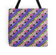 'Colorful Boombox Retro Pattern Tote Bag by HavenDesign Retro Pattern, Boombox, Laptop Skin, Ipad Case, Small Businesses, Colorful Backgrounds, I Shop, Finding Yourself, Corner