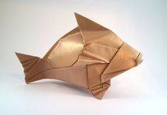 Origami Brown Grouper by Gerard Ty Sovann Folded from a square of Recollections cardstock by Gilad Aharoni on www.giladorigami.com