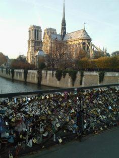 """""""Locks of Love"""" bridge. We placed a lock on this bridge our last night in Paris."""