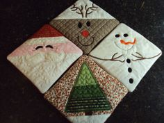 Quilted & Embroidered Holiday Coasters set of 4 by 2hills on Etsy, $14.00