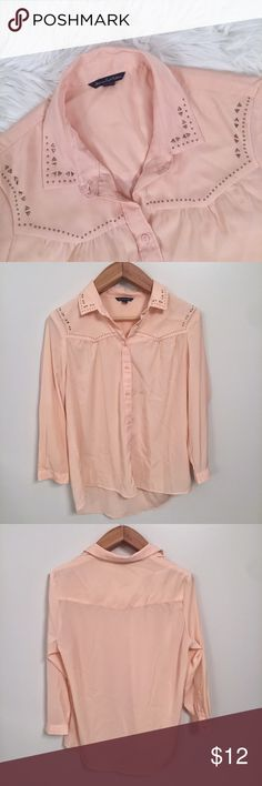 "SALE💕American Eagle Button Up Peach American Eagle button up. Studded detail around collar and neckline. Sheer fabric. Great condition. Size LARGE.   Measurements Laying Flat   Armpit to armpit - 21.5"" Length - 26"" in front and 28"" in back  Any questions please ask American Eagle Outfitters Tops Button Down Shirts"