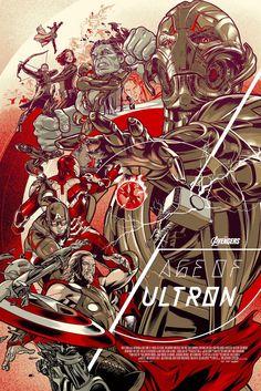 """Affiche originale Mondo """"Avengers: Age of Ultron"""" par Martin Ansin, (07/10/15) numérotée. Taille 24""""X36"""". Regular 450 exemplaires au monde. @asgalerie #Asgalerie #MartinAnsin #Mondo #AvengersAgeofUltron."""