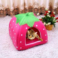Cute Foldable Cat Kitten House Warm Soft Winter Cotton Pet Dog Cat Bed Kennel Fleece Cozy Nest For Small Medium Cat Dogs S-XXL