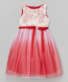Red Rosette Sash Dress - Toddler & Girls | zulily