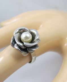 Vintage Sterling Pearl Ring Freshwater Pearl by TonettesTreasures