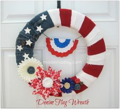 Denim flag wreath diy of july wreath diy crafts of july crafts fourth of july crafts flag wreath of july diy projects fourth of july diy Flag Wreath, Patriotic Wreath, Patriotic Crafts, July Crafts, Diy Wreath, Wreath Crafts, Wreath Ideas, Burlap Crafts, Heart Wreath