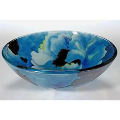 Blue Tempered Glass Sink Bowl | Overstock.com Shopping - Great Deals on Bathroom Sinks