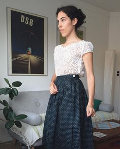 It's still very hot and not autumny at all. I can't remember when I last wore summer clothes in September. It's ending soon though, so this is my last chance to wear my 1960s skirt and 1960s lace top. The top was made by my grandmother  #truevintageootd #1960s #vintage