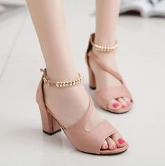 Dropshipping Sexy Summer Peep Toe Hollow Roman Sandals Women Chunky Heels With Beaded High Heel Female Shoes Party Wedding Womens Summer Shoes, Womens High Heels, Women's Pumps, Pump Shoes, Toe Shoes, Roman Sandals, Chunky High Heels, Thick Heels, Gladiator Heels