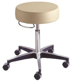 """Our popular AliMed Deluxe Pneumatic Stool with 22"""" diameter cast brushed aluminum base has fingertip height adjustment that adjusts height from 18"""" to 24"""". Gray nylon casters are 2"""" in diameter.  Stitched seam seat. Dual wheel nylon carpet casters. Stable five leg base. 250 lb. capacity. #ergonomics"""