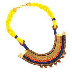 Maxi colar de cordas amarelo com cristais