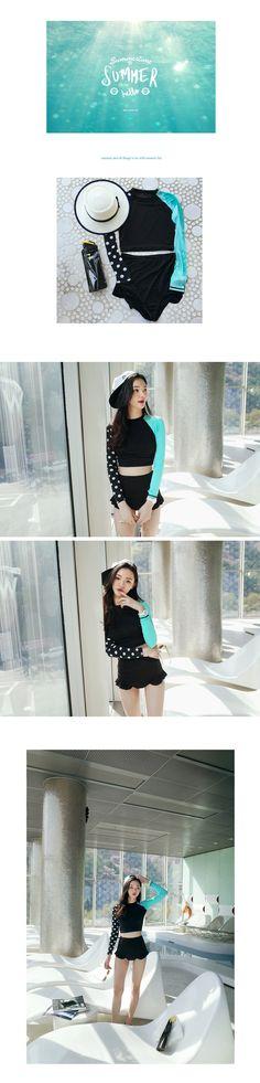 2016韩国代购新款瑜伽服潜水服俏皮配色长袖分体温泉保守女游泳衣-淘宝网