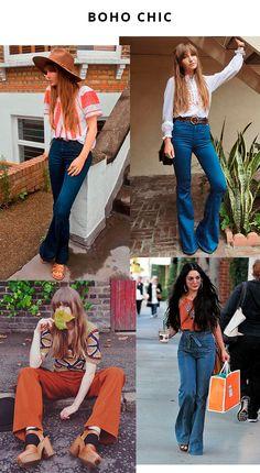A calça flare é indispensável para quem curte um mood boho. Ela é perfeita para compor looks no estilo e garantir um visual vintage chic, mas ainda assim despojado. calca - flare - boho - chic - looks