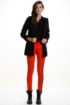 Pantalón Básico Engomado - Rojo en DeluxeBuys!