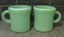2 Fire King Jadite C Handle Cups Mugs G212 Extra Heavy Restaurant Ware