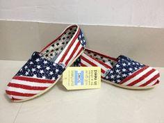 Artist Toms classics shoes USA flag Women deep blue Outlet. Toms Shoes Sale.