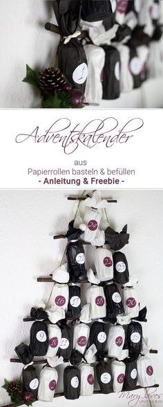 [Anzeige] DIY-Adventskalender aus Papierrollen basteln und selber befüllen - Anleitung & Freebie für einen Adventskalender aus Toilettenpapierrollen - #diy #diyadventskalender #adventskalender