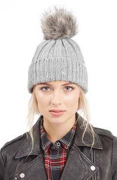 Topshop Faux Fur Pompom Beanie available at #Nordstrom