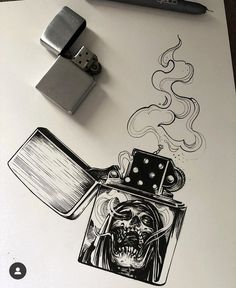 Different picture on the lighter and sold Dark Art Drawings, Tattoo Design Drawings, Pencil Art Drawings, Art Drawings Sketches, Tattoo Sketches, Cool Drawings, Flash Art Tattoos, Body Art Tattoos, Gotik Tattoo