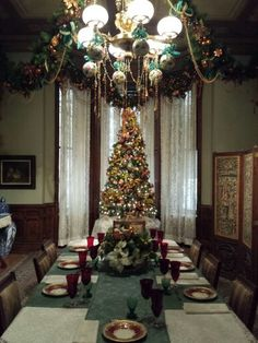 Victorian Christmas table setting at The Glenview Mansion at The Hudson River Museum, Yonkers, NY