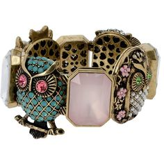 Betsey Johnson Vintage Owl Stretch Bracelet ($25) ❤ liked on Polyvore featuring jewelry, bracelets, multi, bracelet bangle, owl jewelry, betsey johnson, bracelet jewelry and stretchy bracelet