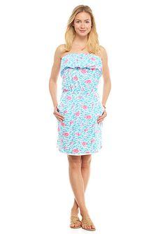 crown & ivy™ beach Fancy Flamingo Strapless Dress