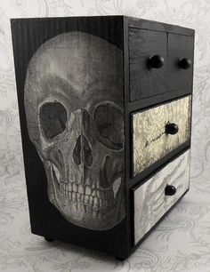Black And White Skull Skeleton Vintage Anatomy Stash Jewelry Box