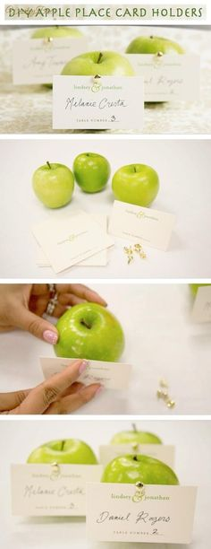 DIY Apple Place Card Holder — Wedding Ideas, Wedding Trends, and Wedding Galleries Wedding Trends, Fall Wedding, Diy Wedding, Wedding Ideas, Wedding Stuff, Name Card Holder, Place Card Holders, Just In Case, Just For You
