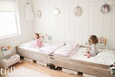 tidbits: Little Girl Shared Bedroom - Small Space Makeover. I love this sweet, bright room. What an amazing transformation and use of a small space. Very inspiring, and all done on a small budget.