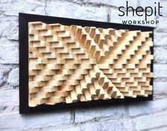 Handcrafted Wood Wall Art / Sound Diffuser Panel This piece is made from pine wood. Frame burned in Japanese technique Yakisugi (Shou Sugi Ban). It measures 25 x 15 x the picture). But you can choose a different size: Inches x Inches x Inches x Wood Art Panels, Panel Art, Blue Wood, Gold Wood, Wood Burning Techniques, Large Wood Wall Art, Deco Studio, Coastal Wall Art, Geometric Wall Art